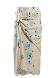 Marni Iride floral-print cotton midi skirt