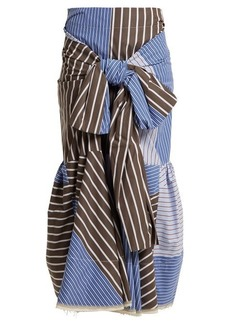 Marni Knot-front striped cotton-blend poplin skirt