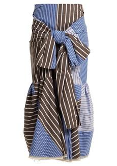 Marni Knot-front striped cotton-blend poplin skirt