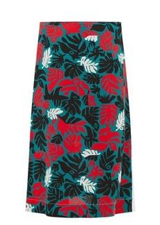 Marni Leaf-print A-line crepe skirt