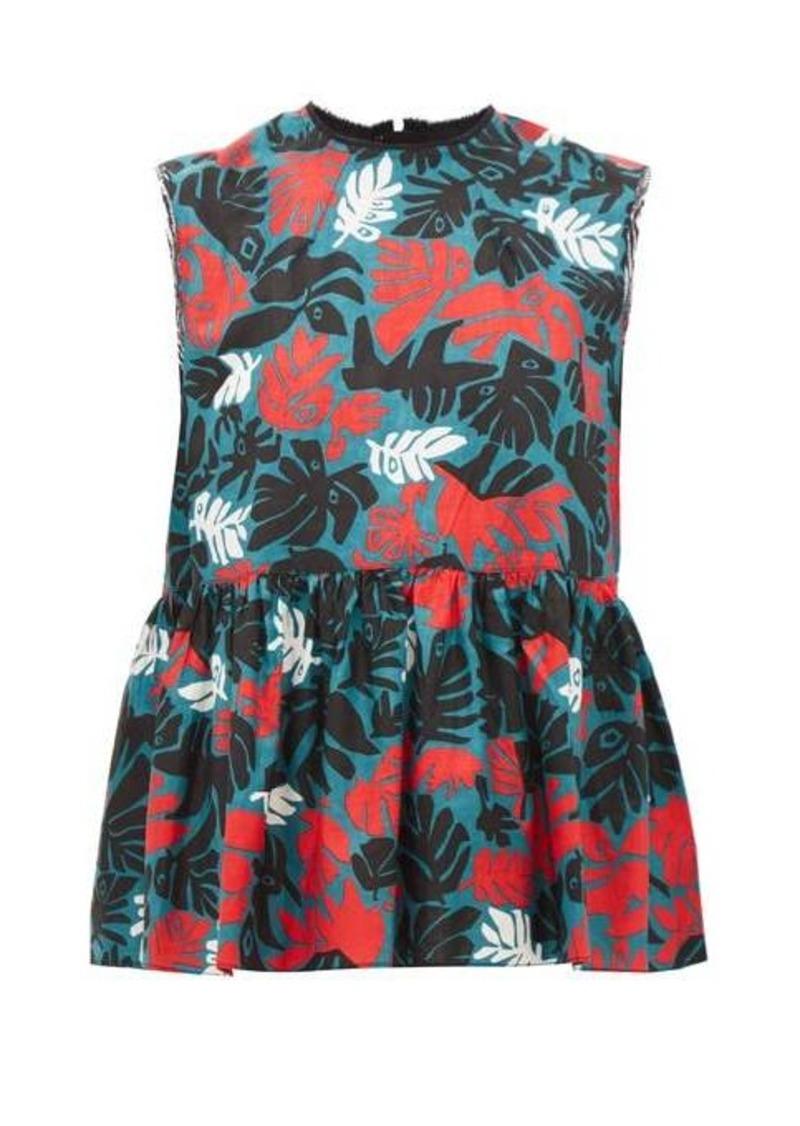 Marni Leaf-print peplum linen-blend top