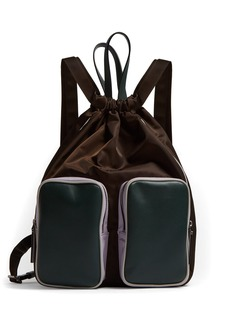 Marni Leather and nylon carryall backpack