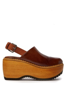 Marni Leather and wood slingback clog-sandals