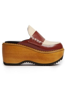 Marni Leather and wood slip-on flatform loafers