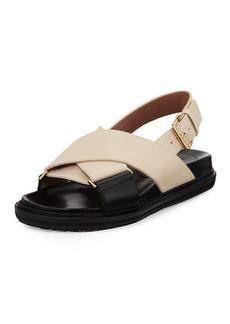 Marni Leather Crisscross Slingback Sandal