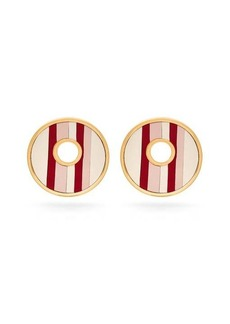 Marni Leather-insert brass earrings