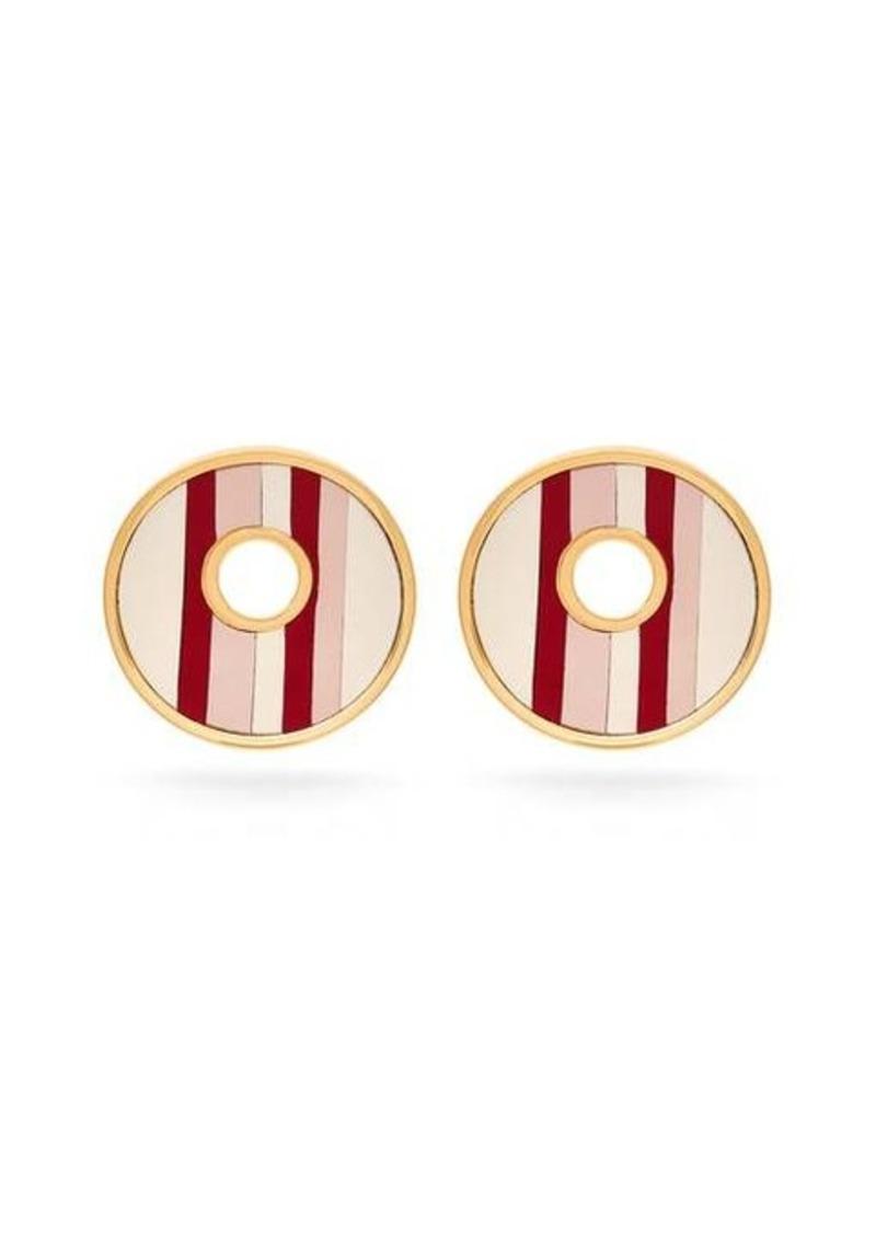Marni Leather-insert brass earrings