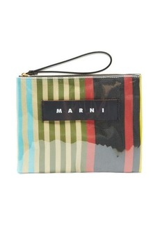 Marni Leather-trimmed striped PVC pouch