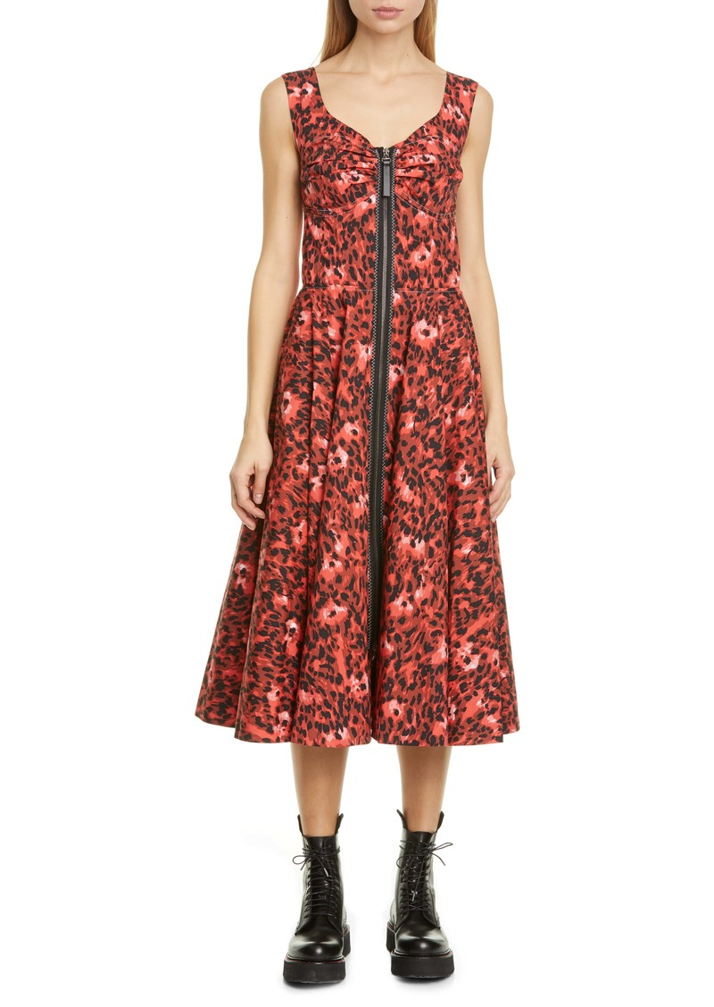 Marni Leopard Print Stretch Cotton Dress