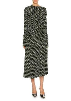 Marni Limoges-Print Long-Sleeve Silk Midi Dress