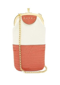 Marni Lizard-embossed leather and canvas phone bag
