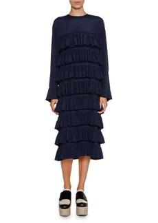 Marni Long-Sleeve Ruffled Midi Dress
