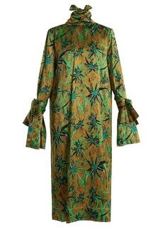 Marni Long-sleeved Herbage-print midi dress