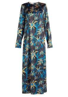 Marni Long-sleeved Herbage-print satin dress