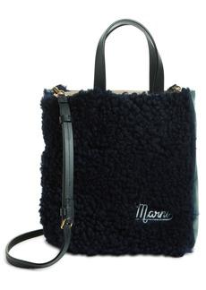 Marni Mini Genuine Shearling & Leather Tote - Black