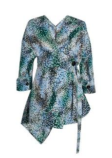 Marni Mist-print silk-crepe wrap top