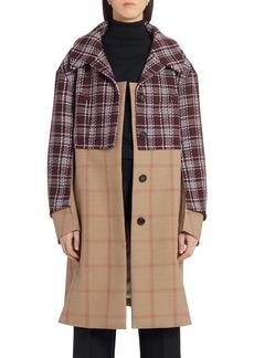 Marni Mixed Media Check Wool Coat