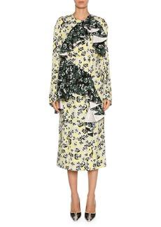Marni Mixed Pansy-Print Long-Sleeve Ruffle Midi Dress