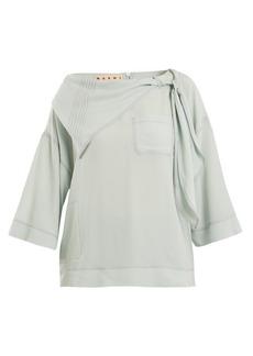Marni Neck-tie draped crepe blouse