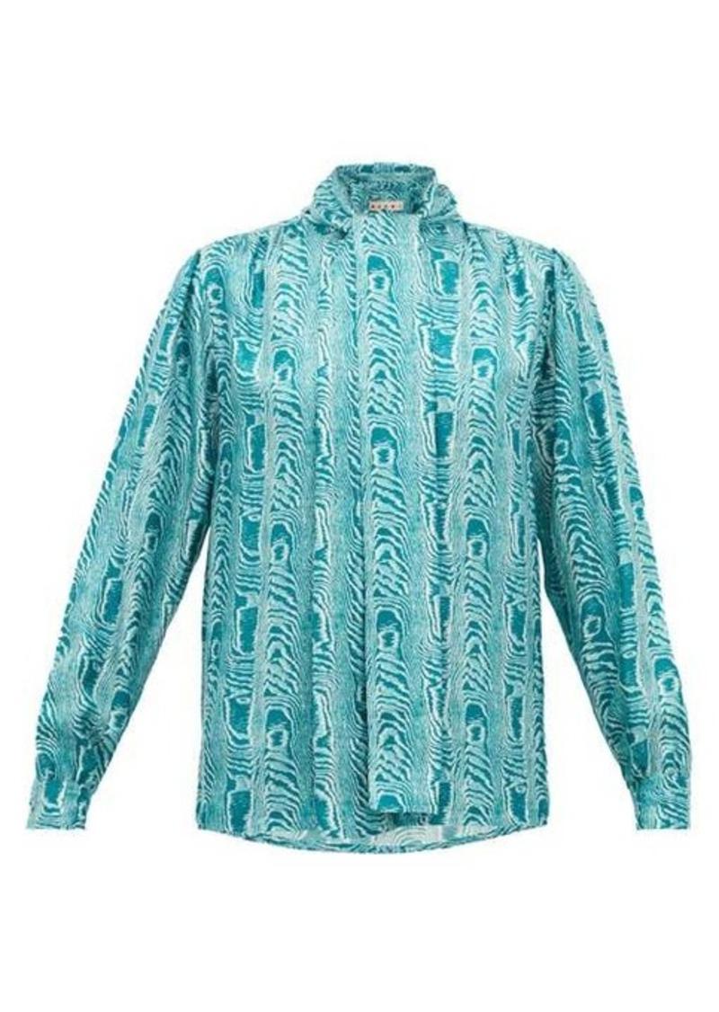 Marni Neck-tie moiré-print silk-twill blouse