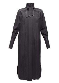 Marni Neck-tie pleated cotton shirtdress