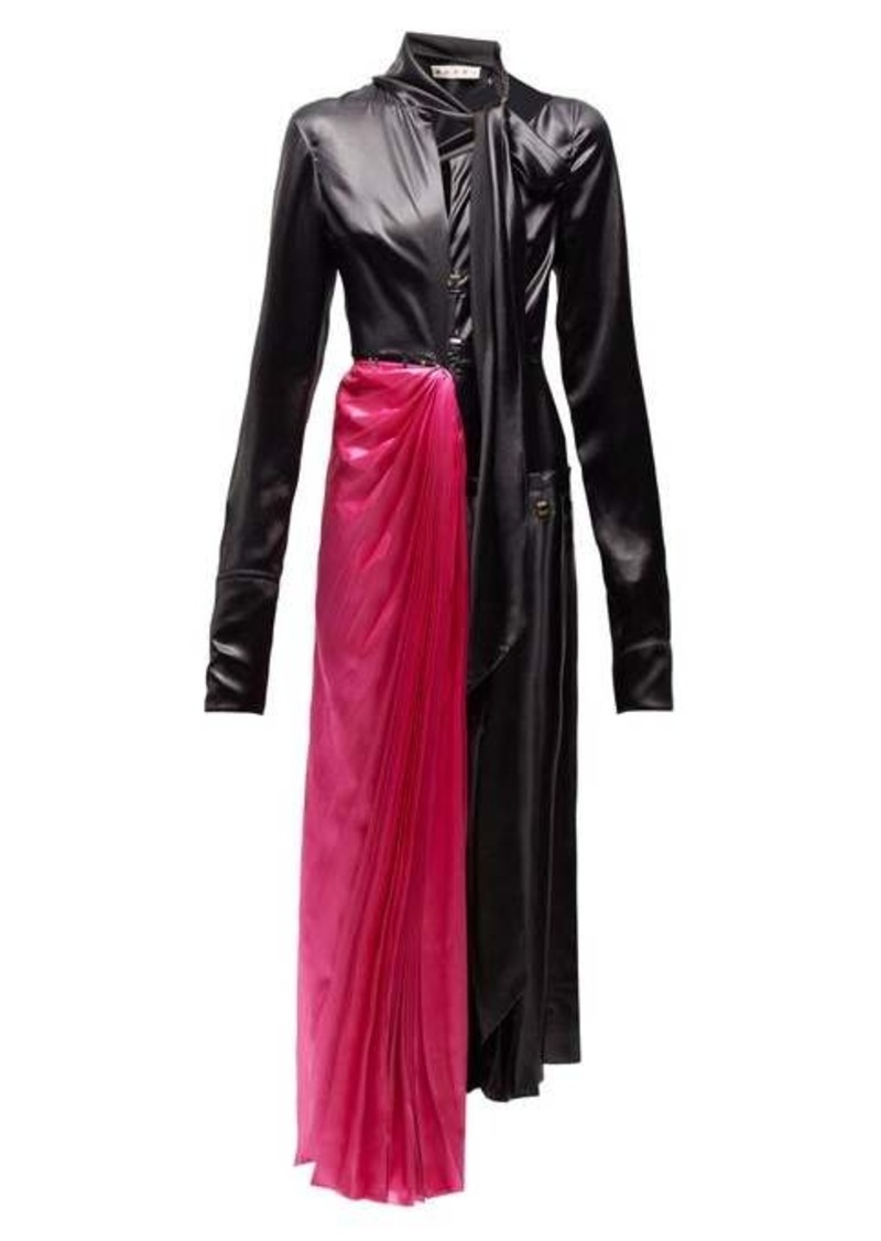 Marni Necktie asymmetric satin midi dress