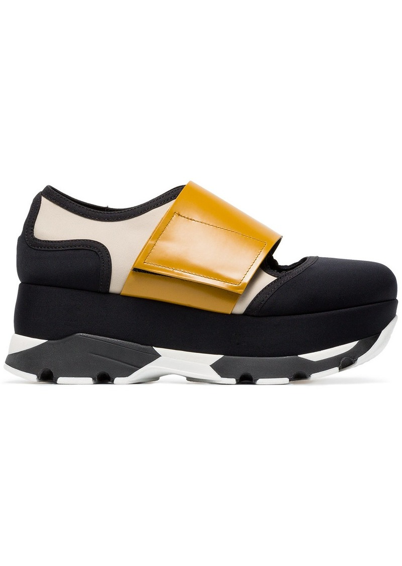 Marni Black Yellow 65 neoprene platform sneakers