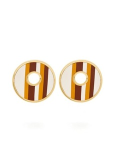 Marni Open Circle leather striped earrings