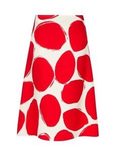 Marni Oval-print A-line crepe skirt