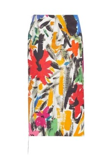 Marni Paint-print poplin pencil skirt