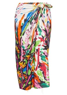Marni Paint-print poplin wrap skirt