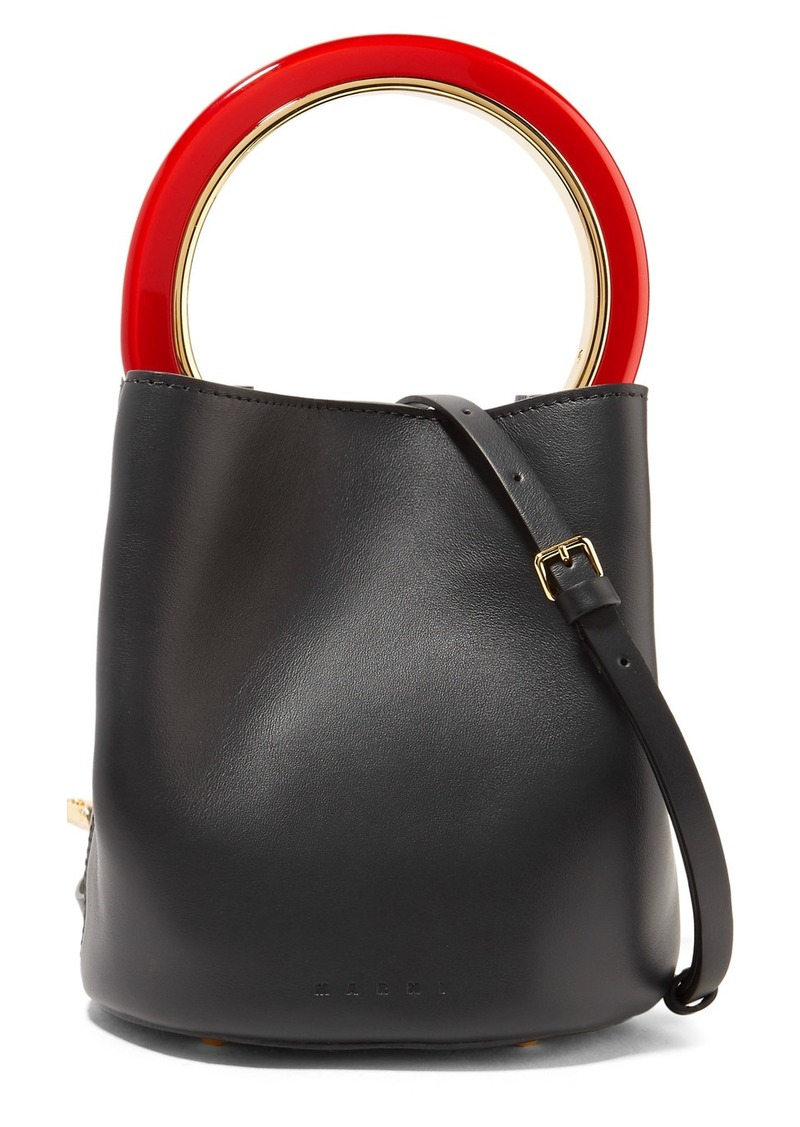 Marni Pannier Mini Leather Bucket Bag
