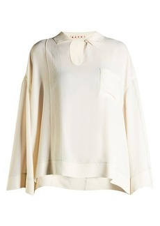 Marni Patch-pocked washed-crepe blouse