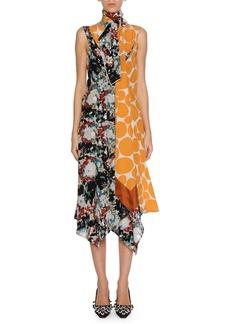 Marni Patchwork Placed-Print Silk Tie-Neck Midi Dress