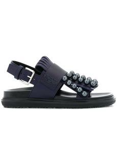 Marni pearl embellished fringed sandals - Blue