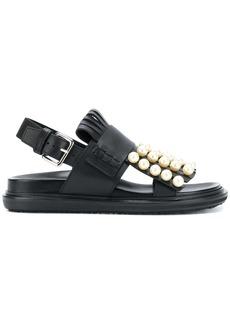 Marni pearl studded Fussbett sandals - Black