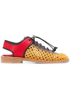 Marni perforated sandal in calfskin - Yellow & Orange