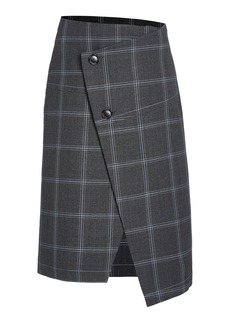 Marni Plaid Asymmetric Wool Button-Front Skirt