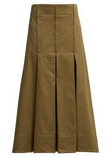 Marni Pleated cotton-sateen skirt