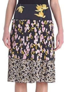 Marni Pleated Floral-Print Skirt