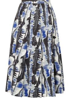 Pleated printed cotton-poplin midi skirt
