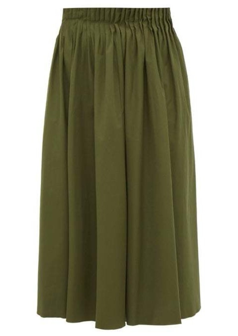 Marni Pleated-waist cotton-poplin midi skirt