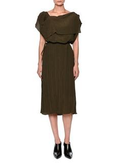 Marni Plisse Draped Off-the-Shoulder Dress