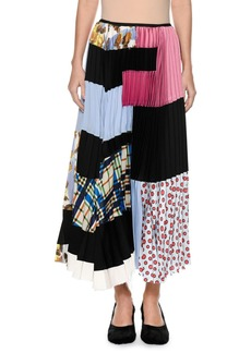 Marni Plisse Patchwork-Print Silk Ankle-Length Skirt