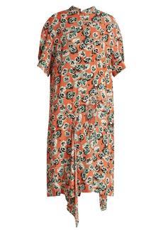 Marni Poetry Flower-print draped-hem crepe dress