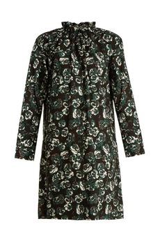 Marni Poetry Flower-print ruffled-neck cotton mini dress