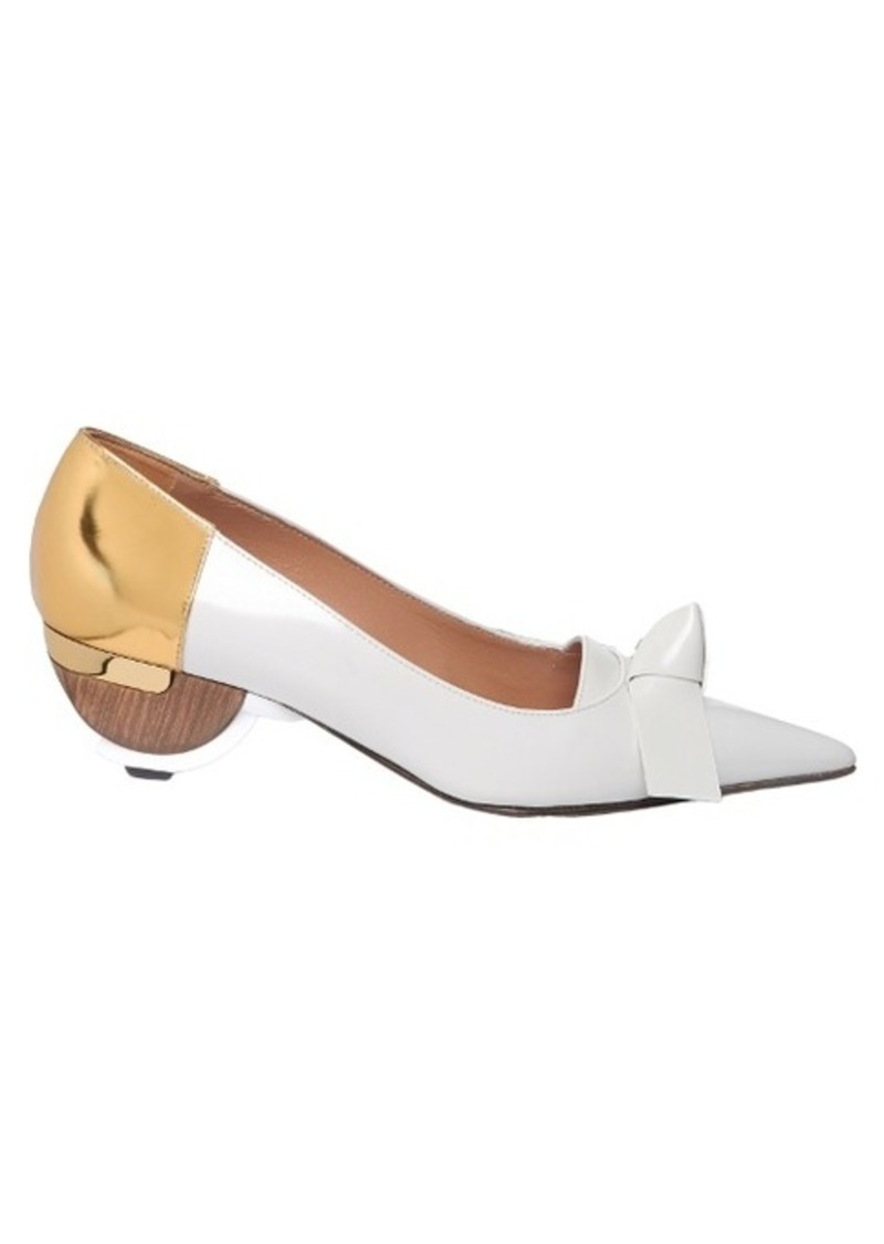 Marni Point-toe kitten-heel leather pumps