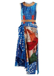 Marni Polka-dot silk-satin midi dress
