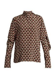 Marni Portrait-print ruffled-sleeve silk blouse