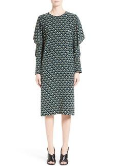 Marni Print Silk Cold Shoulder Dress